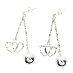 Boucles d'oreilles en argent Double coeur - Argent - 2 cha�nes courtes