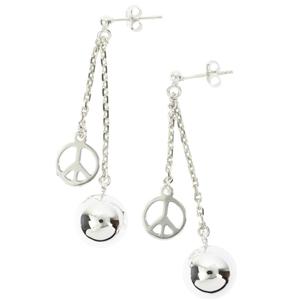 Boucles d'oreilles en argent Hippie chic - Peace - 2 cha�nes courtes