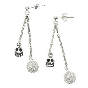 Boucles d'oreilles en argent Rock - T�te de mort - Strass 2cha�nes courtes