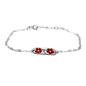 Bracelet en argent m�daillon Fleurs de cerisier rouge
