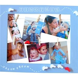 Cadre p�le m�le bleu pour enfant - en voiture