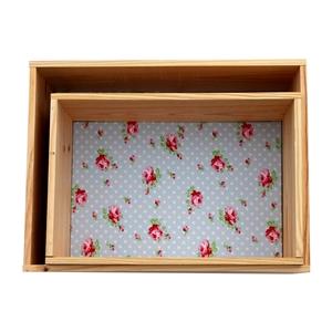 Lot de 2 �tag�res caisses d�coratives en  pin fleuri Emilie