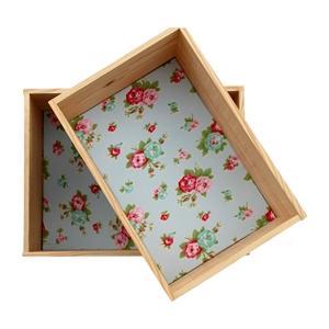 Lot de 2 �tag�res caisses d�coratives en pin fleuri Rosalie
