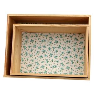 Lot de 2 �tag�res caisses d�coratives en pin fleurs des champs bleu