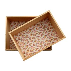 Lot de 2 �tag�res caisses d�coratives en pin fleurs des champs rose