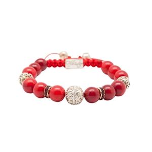 Bracelet corail bambou perles Silver Grenade Corail