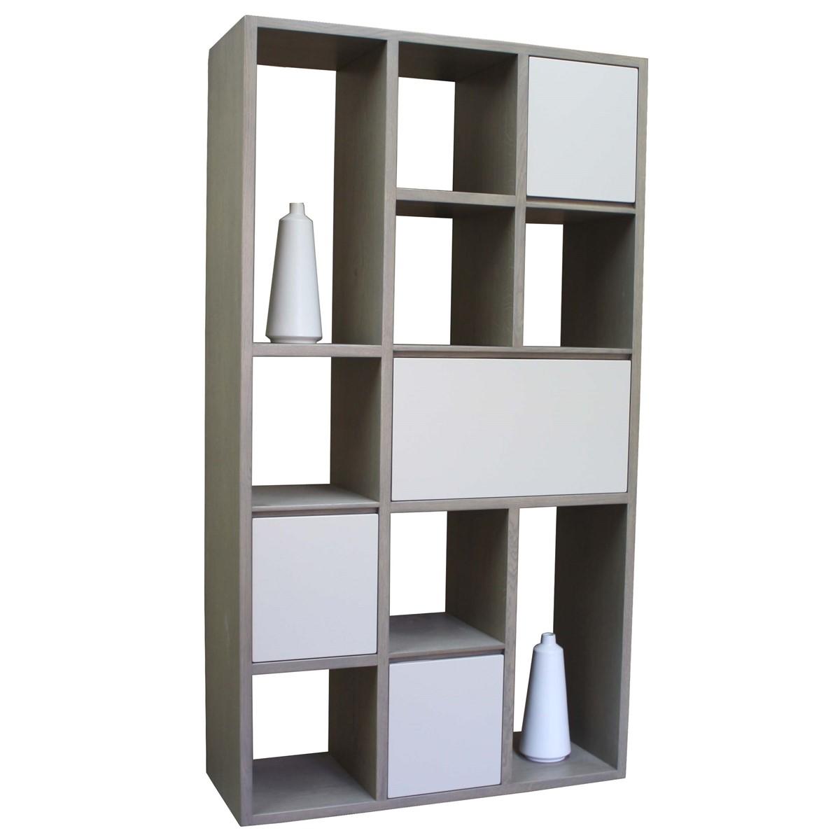 Biblioth que ch ne massif gris et laqu bleu blanc tourterelle pirotais - Bibliotheque laque blanc ...