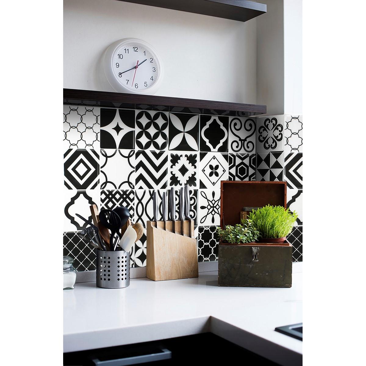 Carrelage mural vintage noir et blanc the smart tiles - Carrelage mural noir et blanc ...
