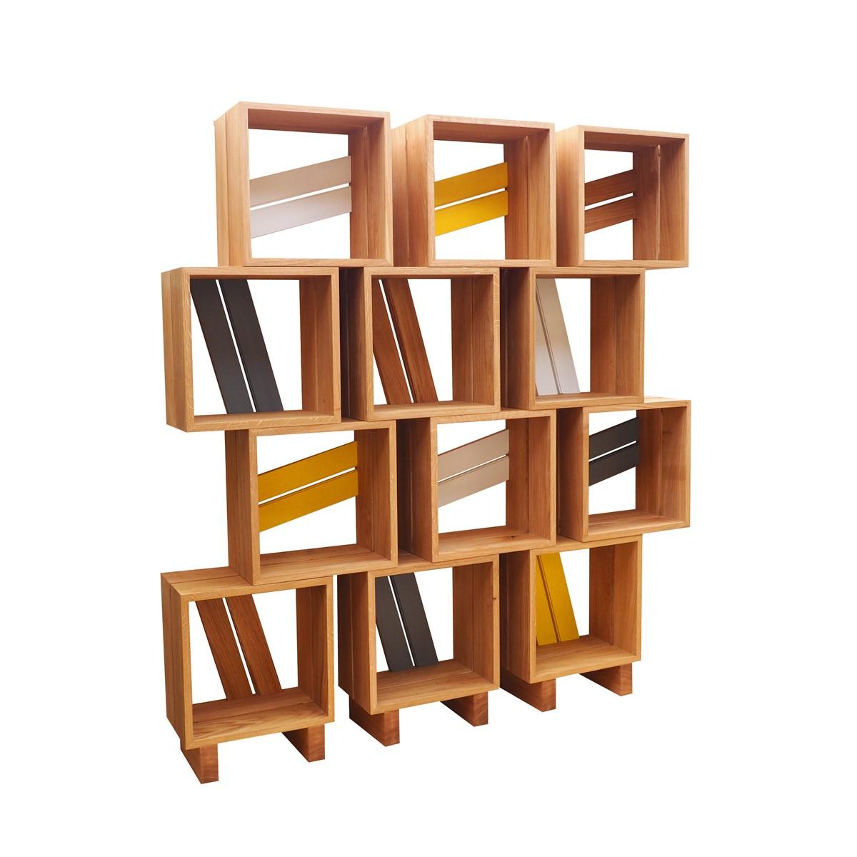 Meuble biblioth que modulable 12 casiers bois jaune gris blanc atelier mobi - Bibliotheque meuble modulable ...