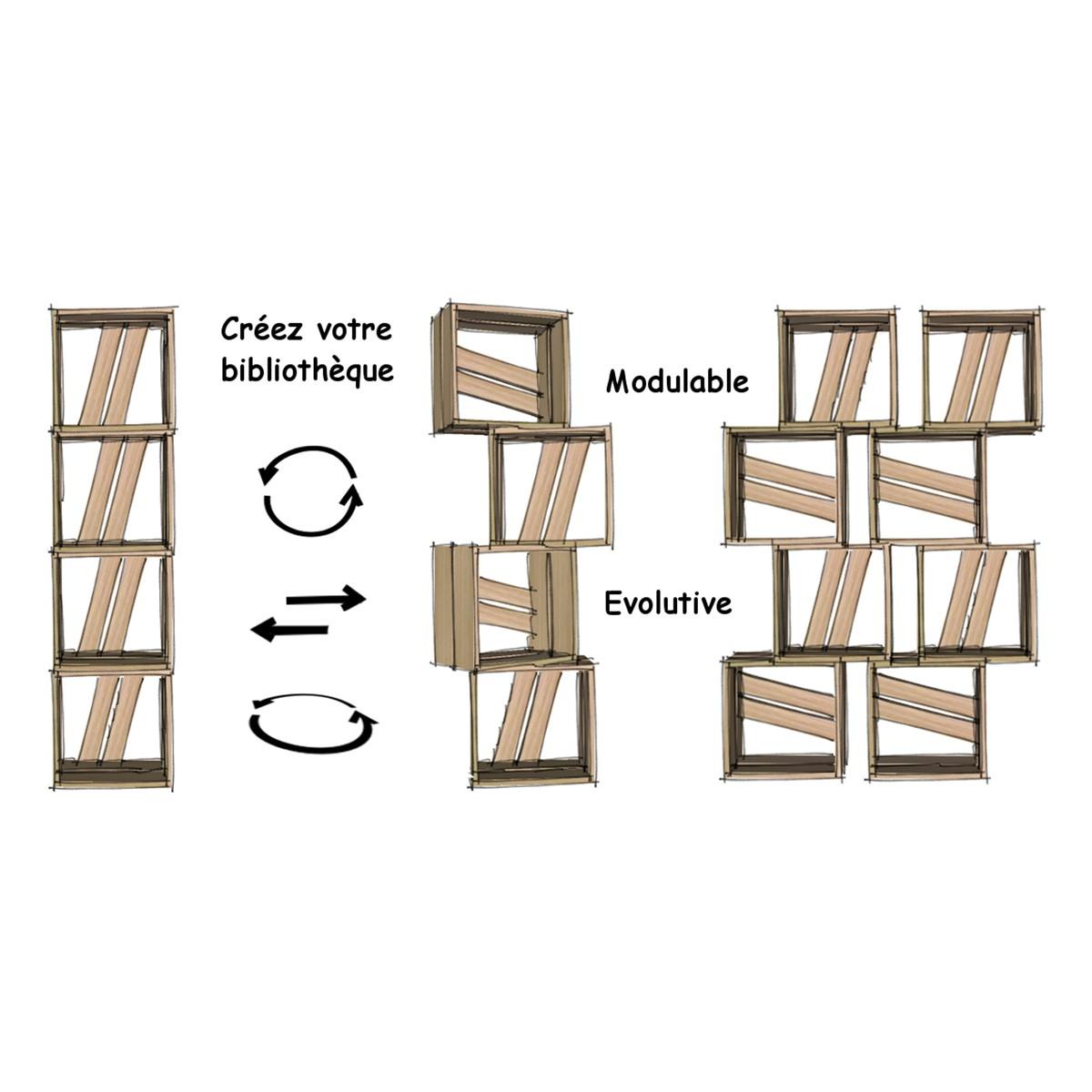 Meuble biblioth que modulable 12 casiers bois jaune gris - Petite bibliotheque bois ...