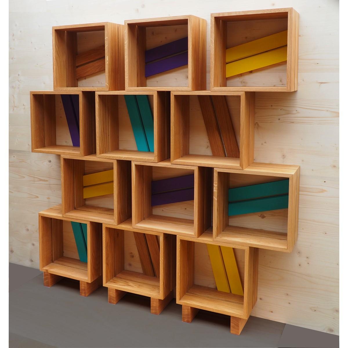 Meuble biblioth que modulable 12 casiers bois jaune violet turquoise atelie - Bibliotheque meuble modulable ...