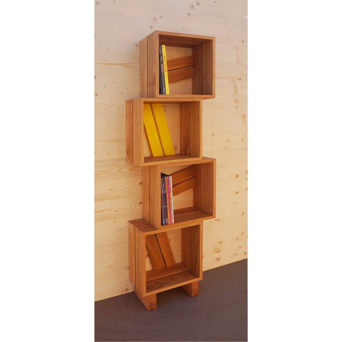 Meuble biblioth que modulable 4 casiers bois jaune gris blanc atelier mobibois - Bibliotheque meuble modulable ...