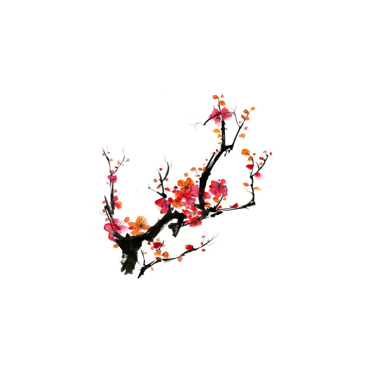 Papier peint japonais cerisier en fleur intiss mat par la marque e papier - Papier peint cerisier japonais ...