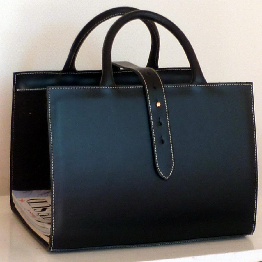 Porte revues cuir noir
