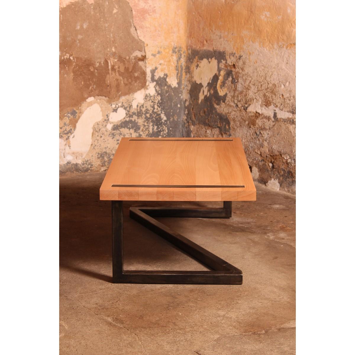 table basse design bois et acier. Black Bedroom Furniture Sets. Home Design Ideas