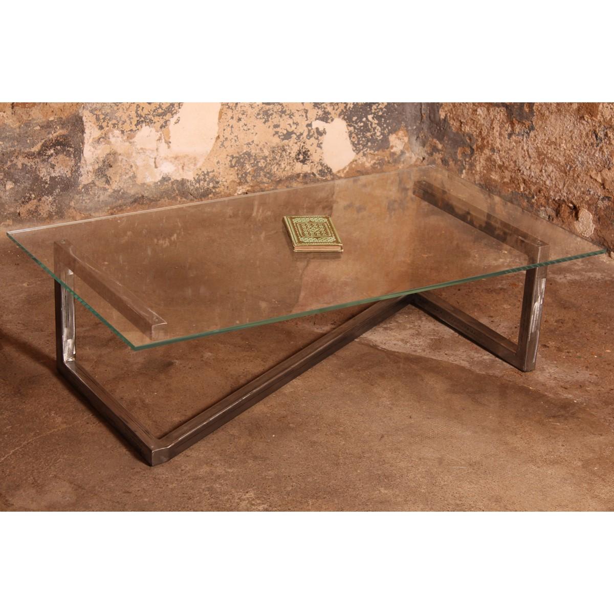 Table basse design en verre et acier barnab - Table basse design en verre ...