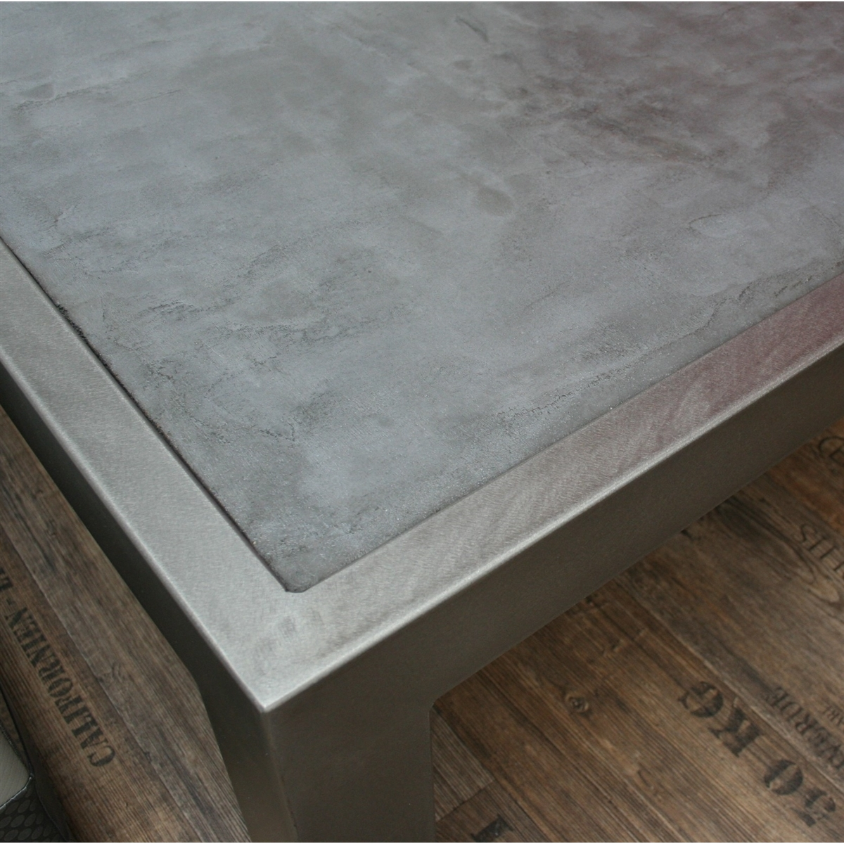 Cool table basse beton lcda console m tal brut tiroirs bois x x h et tablette with table - Beton lcda ...