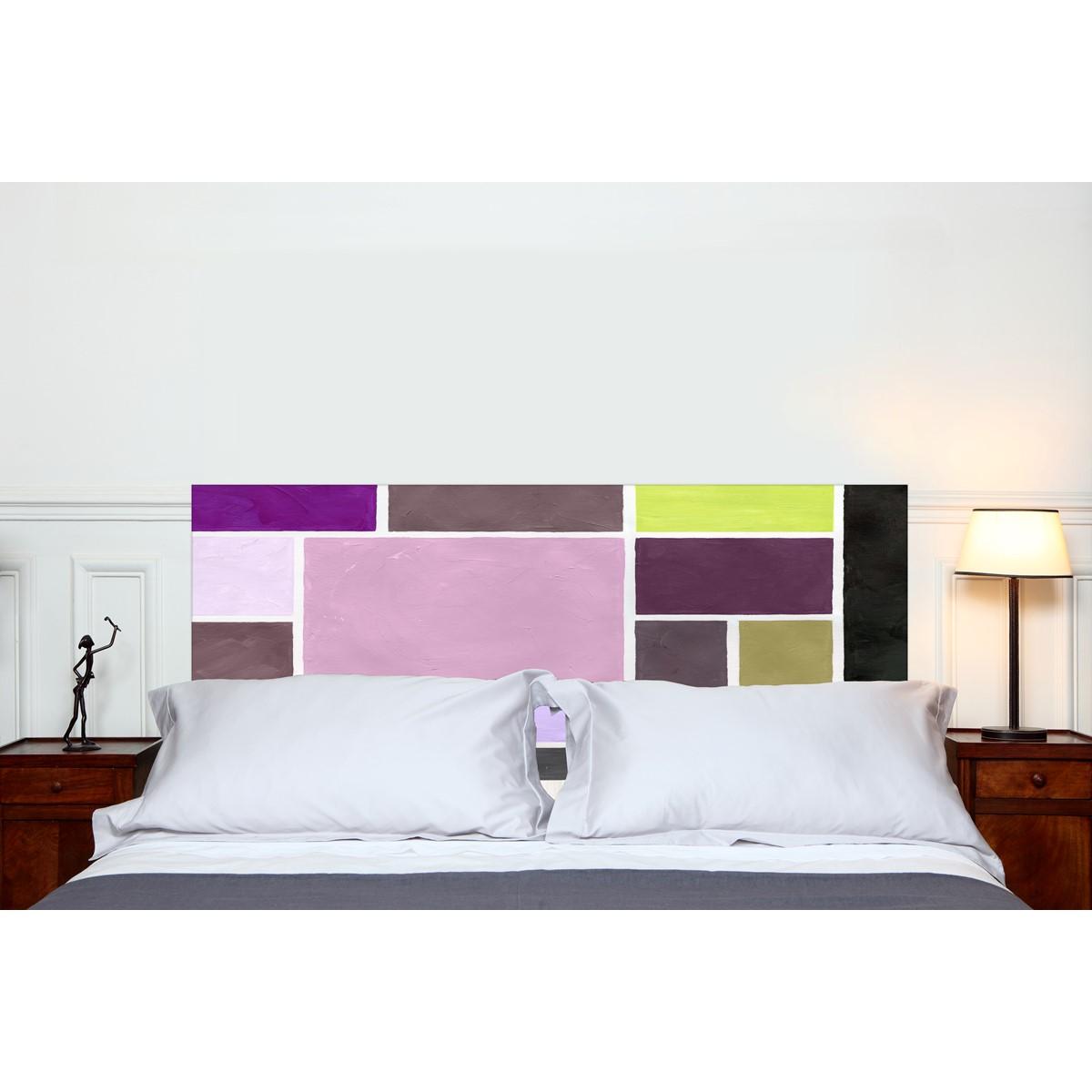 T te de lit en tissu poudr es prune fixer sans support en bois mademois - Lit sans tete de lit ...