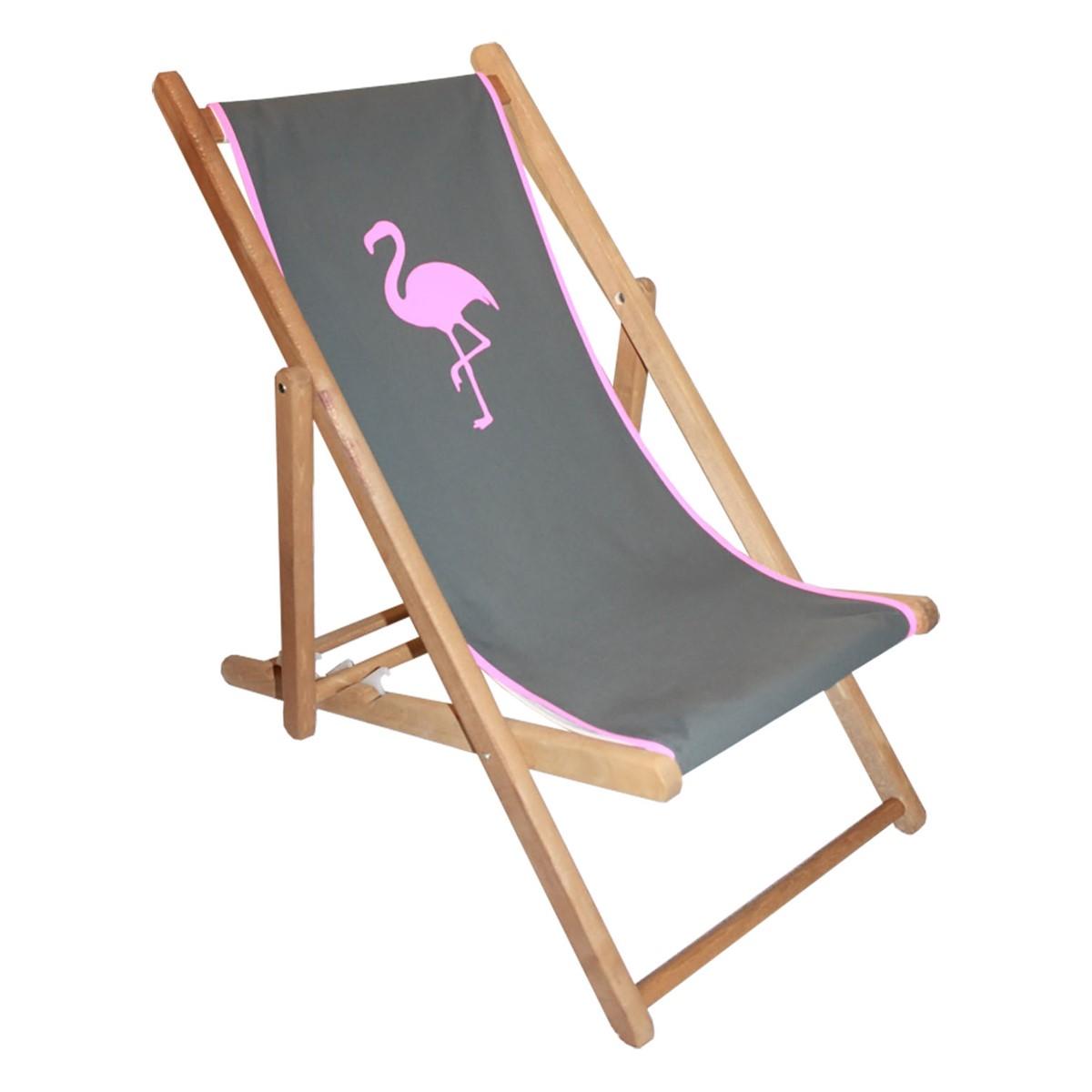 Transat en bois et toile for Chaise longue toile bois