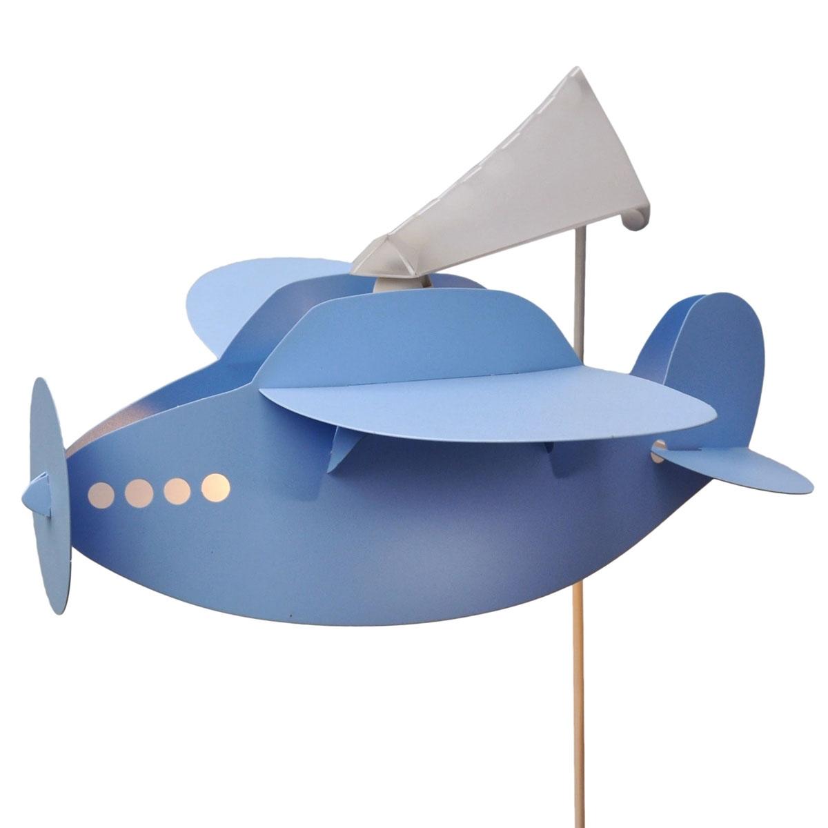 Applique lampe enfant avion bleu ciel