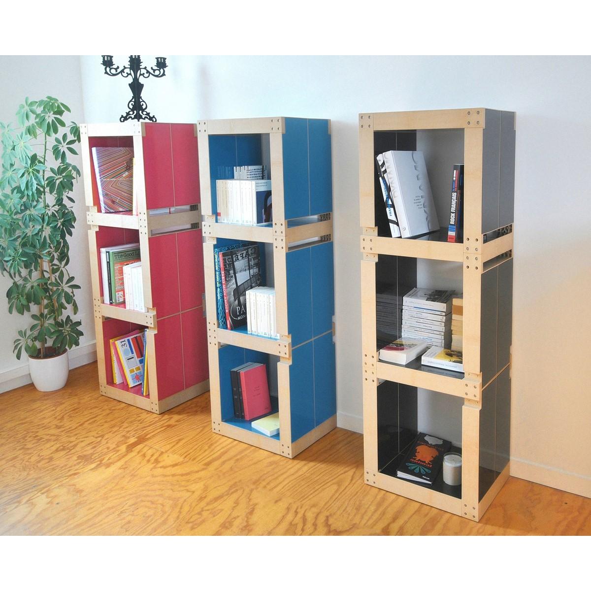 Biblioth que colonne modulable bleu p trole en bois polym re fabulem - Cube bibliotheque modulable ...