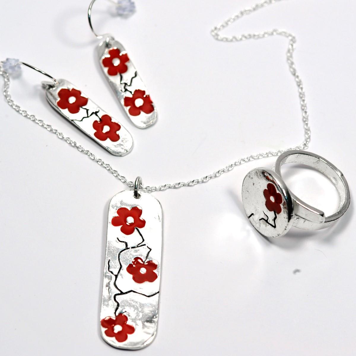 Boucles d'oreilles allong�e en argent massif - Fleurs de cerisier