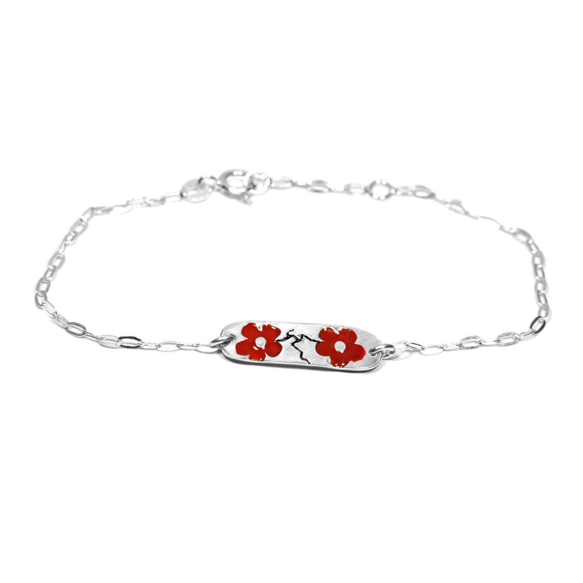 Bracelet en argent m�daillon Fleurs de cerisier