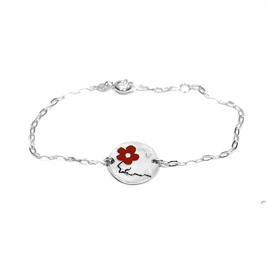 Bracelet en argent m�daillon rond Fleurs de cerisier rouge