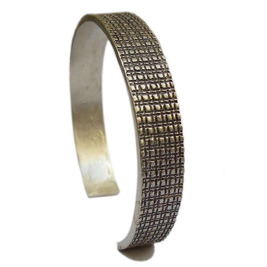 Bracelet homme en argent large, noir mat Building