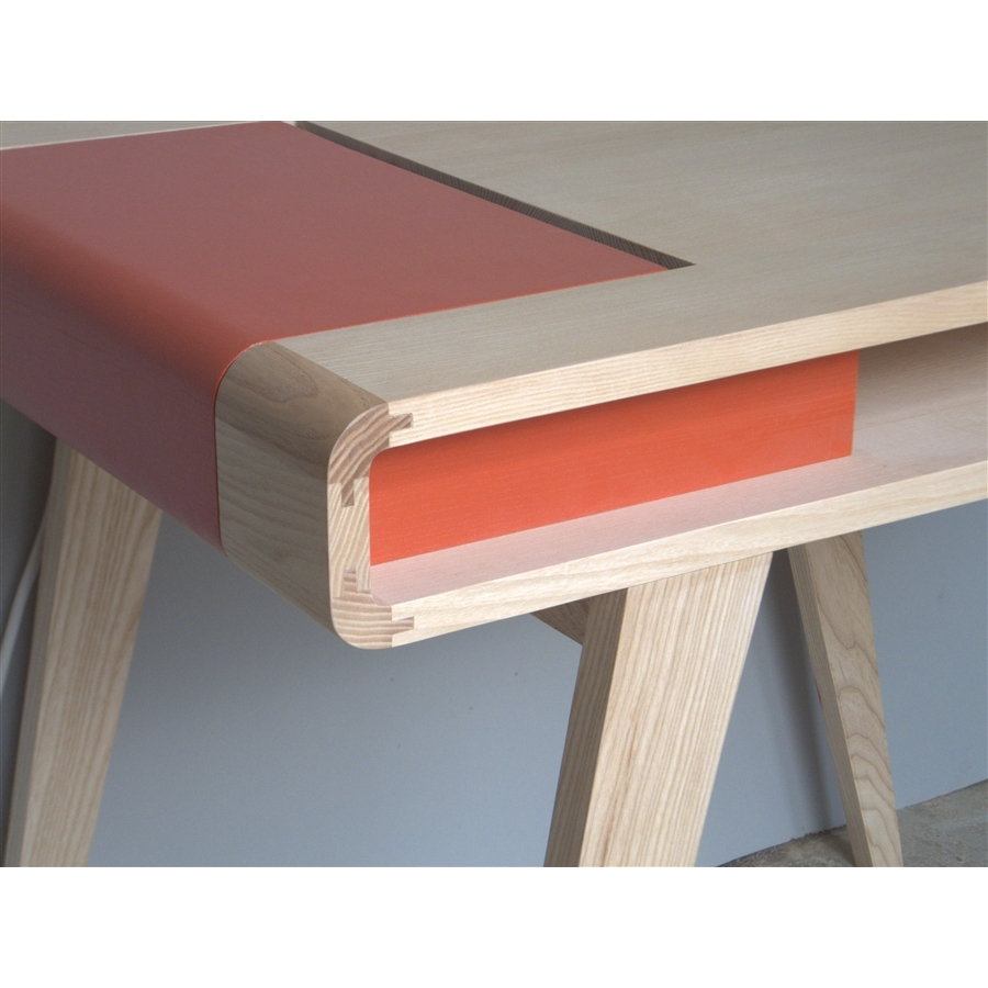 Bureau Bois Massif Contemporain : Bureau r?tro contemporain en bois Kolorea orange Atelier Mobibois