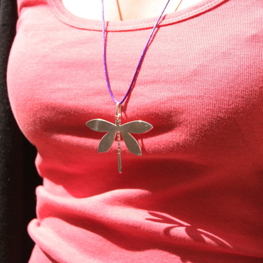 Collier argent pendentif libellule