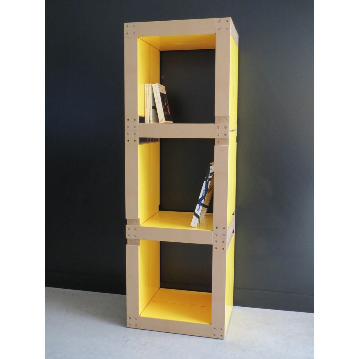 Biblioth que colonne modulable en bois polym re noir fabulem - Bibliotheque meuble modulable ...