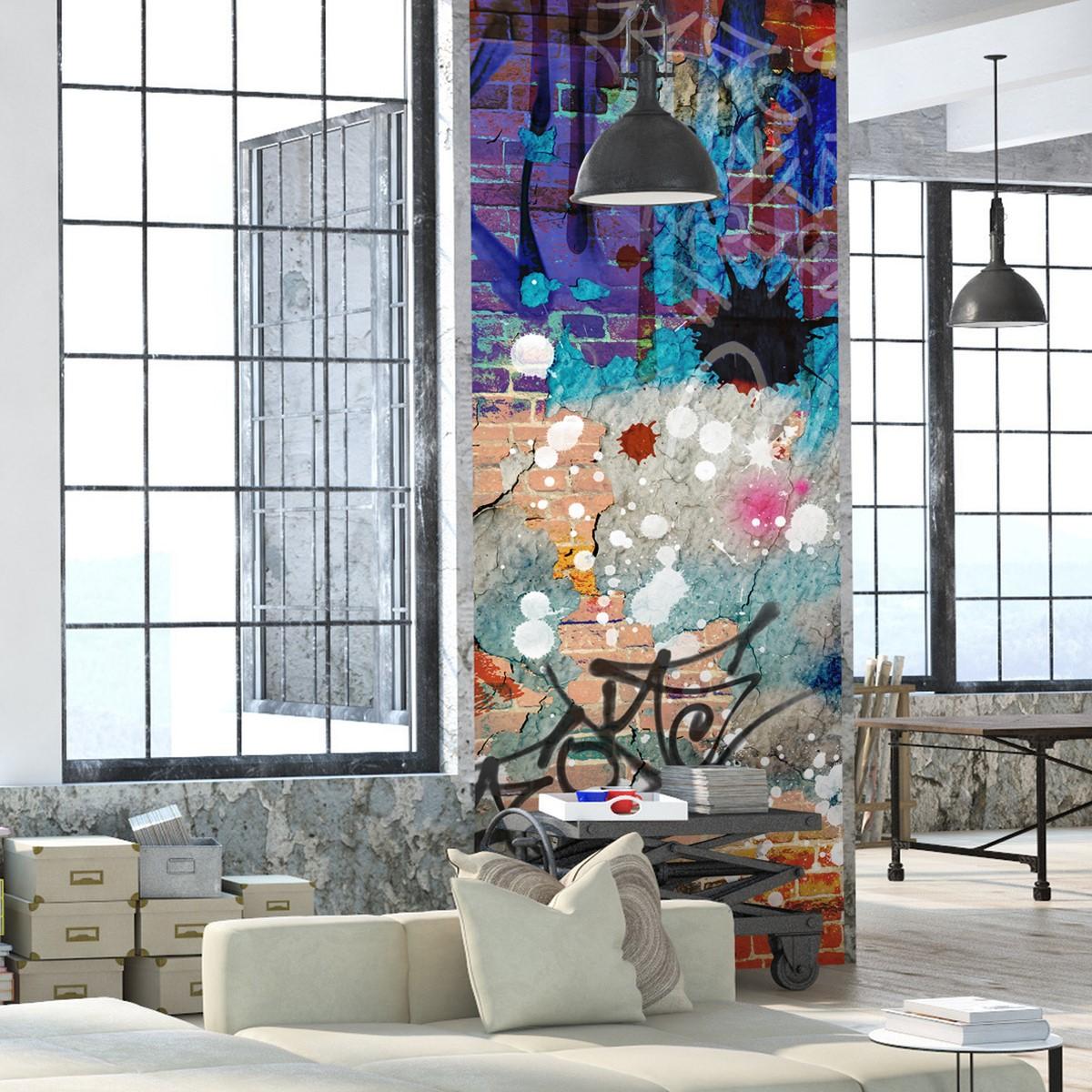 Papier peint l unique graffiti multicolore lgd01 - Frise papier peint castorama ...
