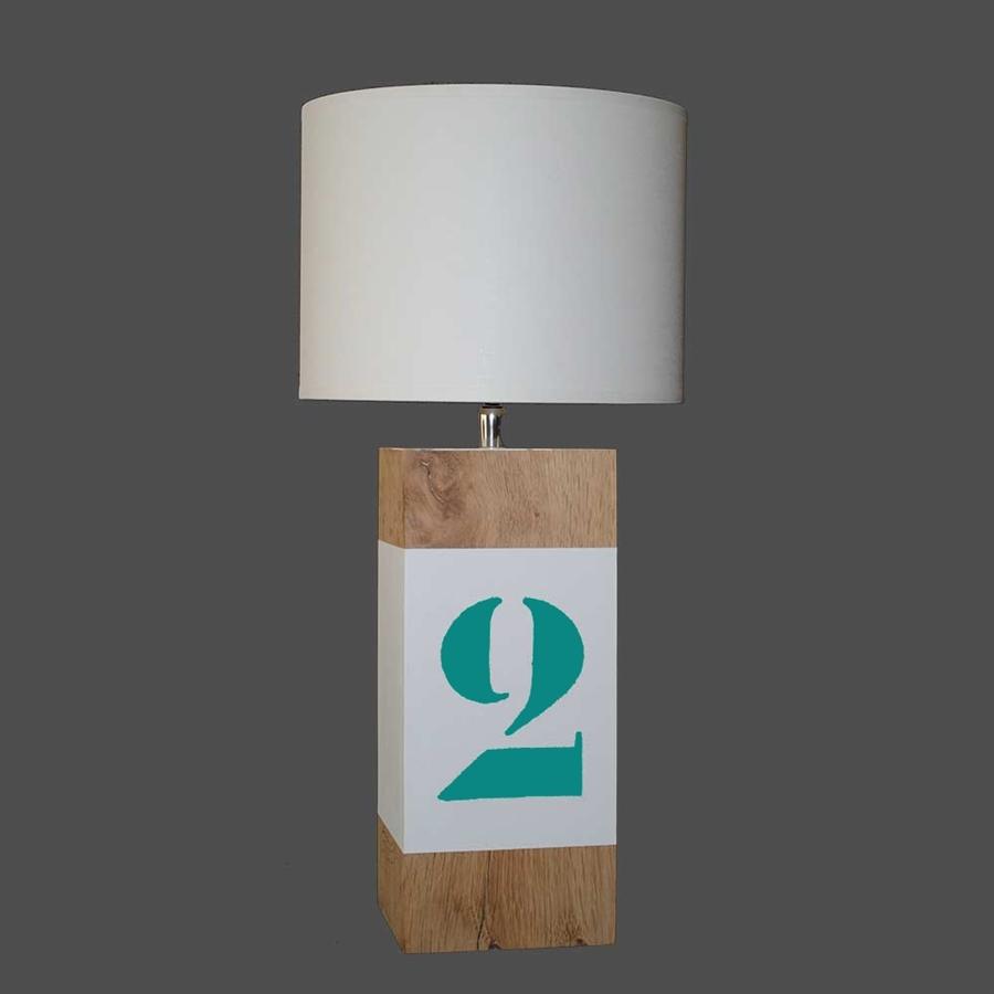Petite lampe en bois blanche et verte up s l34 - Petite lampe de chevet ...