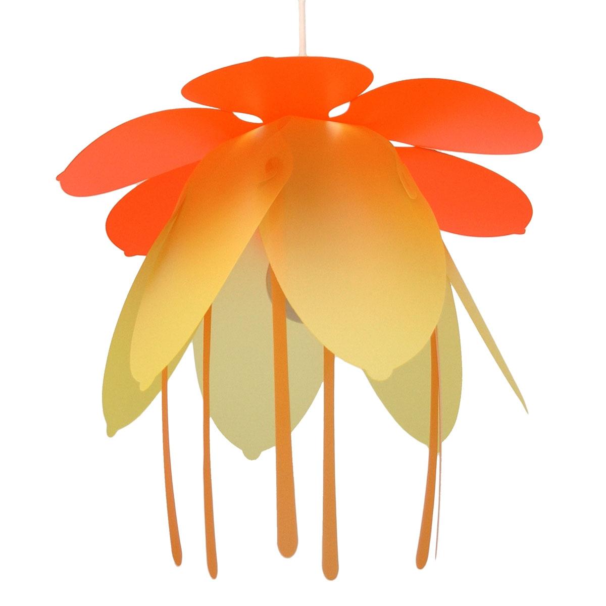 Suspension luminaire fleur Orange Jaune