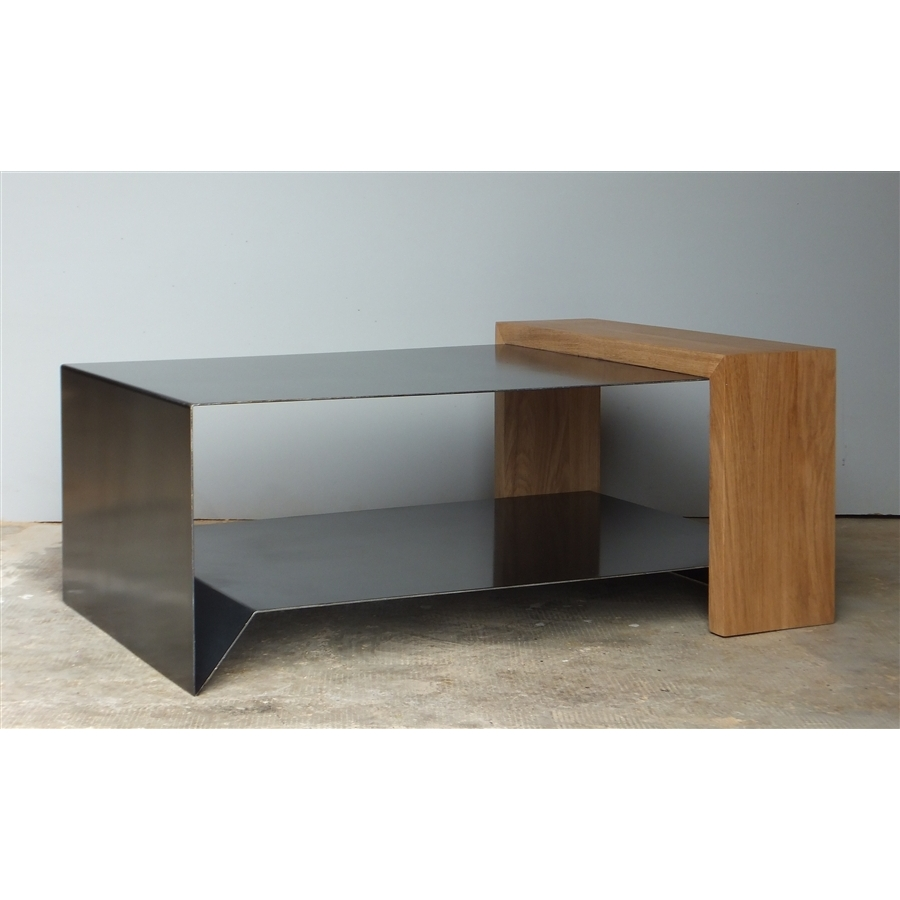 table basse en bois et zinc. Black Bedroom Furniture Sets. Home Design Ideas