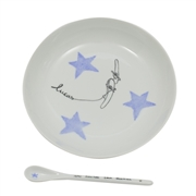 Assiette porcelaine et cuill�re personnalisable avion Gar�on