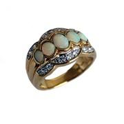 Bague vermeil opales et oxydes