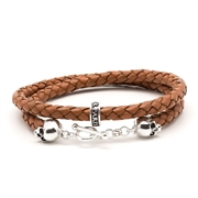 Bellamy XL - Cannelle - bracelet en cuir naturel et argent