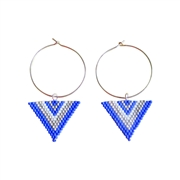 Boucles cr�oles en Argent 925 triangles en perles Miyuki cousues main