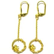 Boucles d'oreilles fleur Sakura en bronze dor� � l'or fin