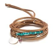 Bracelet multi rangs Halona Beige cuivr� et argent