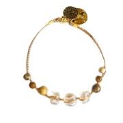 Bracelet perles verre translucide fermoir magn�tique