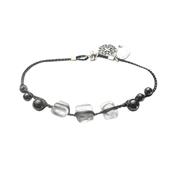 Bracelet perles verre translucide fermoir magn�tique gris