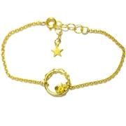 Bracelet r�glable fleur Sakura en bronze dor� � l'or fin