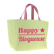 Cabas Happy blogueuse- coton vert anis