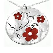 Collier en argent Fleurs de cerisier - Grand m�daillon