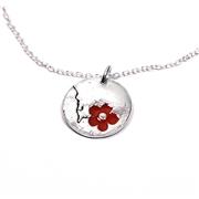 Collier en argent Fleurs de cerisier - Petit m�daillon