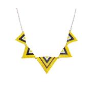 Collier Plastron Argent 925 triangles en perles Miyuki cousues main