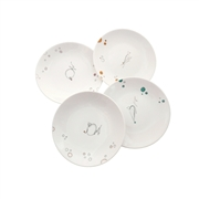 Ensemble assiettes dessert porcelaine peint main Chat et  bulles